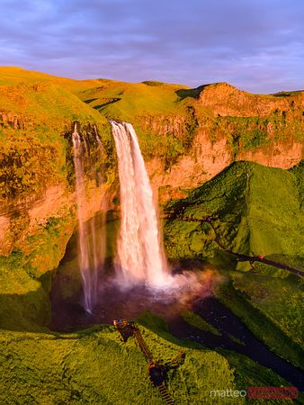 Aerial view of Seljalandsfoss waterfall at sunset, Iceland