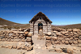 Rustic stone church at Chiriguaya, Las Vicuñas National Reserve, Region XV, Chile