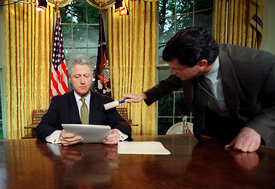 President William Clinton moments before an address to the Nation.