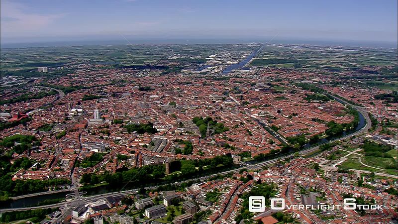 Flying over Bruges toward Zeebrugge, Belgium