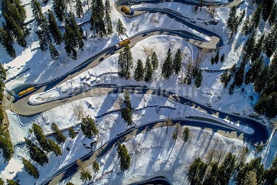 The amazing twisting road in the Maloja Pass between Switzerland and Italy