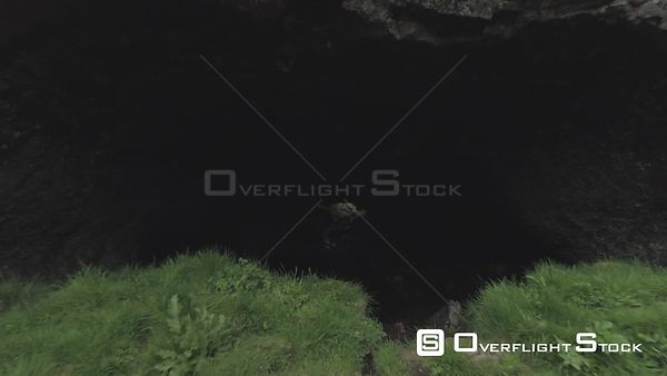 Flying Low Out of Mariuhellir Cave Entrance, Revealing Shot, Drone Aerial Iceland