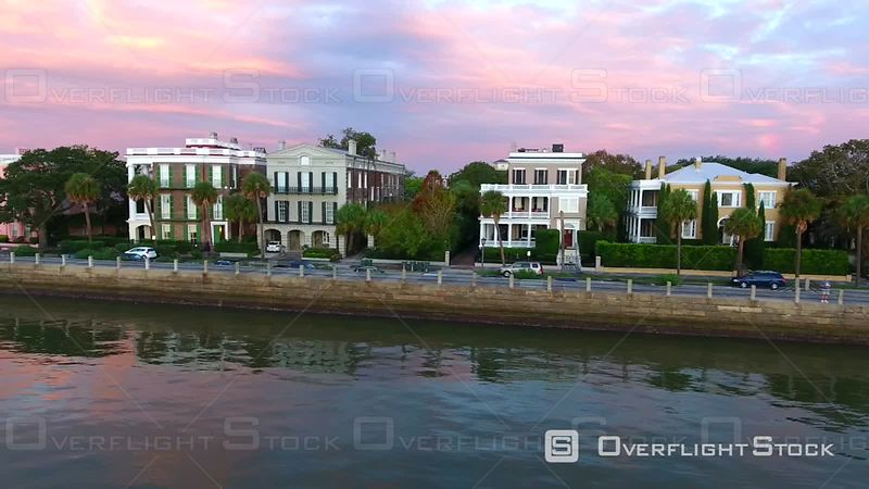 4k Aerial of Rainbow Row In Charleston SC at Sunrise