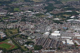 Bury aerial photograph of Bury Mill Gate and the Rock shopping centre in the Bury town centre and the industrial retail parks...