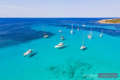 Aerial view of yachts, Balearic Islands, Spain