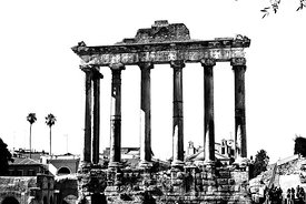 Temple of Saturn. The Roman Forum.