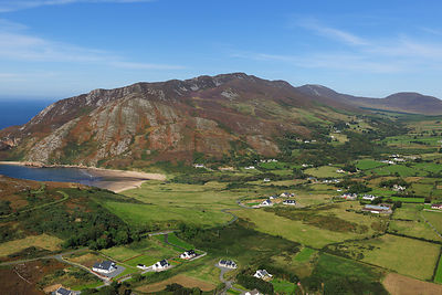Aerial view of Urrish Hills, East shore, Lough Swilly, County Donegal, Republic of Ireland, September 2009