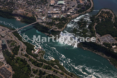 Rainbow Bridge and American Falls (USA) from the air, Niagara Falls, Canada and USA