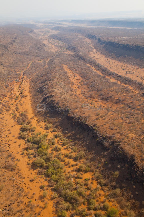 Aerial view of the trench of the Great Rift valley, Tanzania, Africa, August 2009