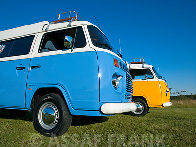 VW Van against blue skies