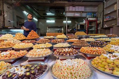 Dazzling array of sweets, Haridwar, India