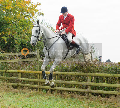 Chris Edwards jumping a hedge near Wilson's - The Cottesmore at Langham.