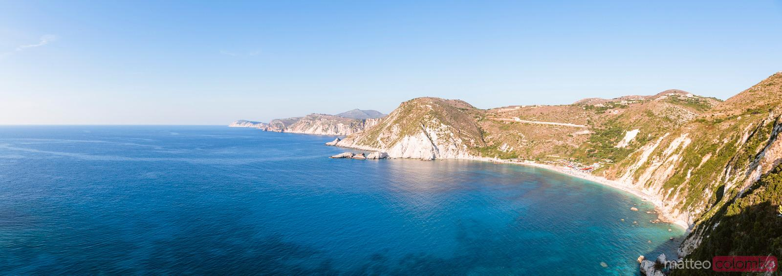 Panoramic view of Kefalonia island and blue sea in summer, Greece