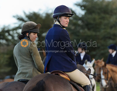 Flora Young at the meet - The Belvoir Hunt at Waltham House