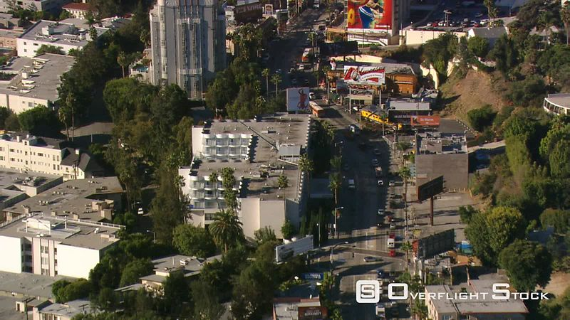Flying above Sunset Boulevard in Hollywood.