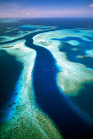 Aerial of Kossol Passage, Kossol Reef, Palau Islands, North Pacific Ocean.