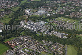 Skelmersdale high level aerial photograph of the Concourse Shopping centre  offices and Asda