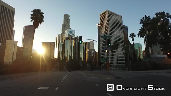 Downtown Los Angeles Driving Ground Level California