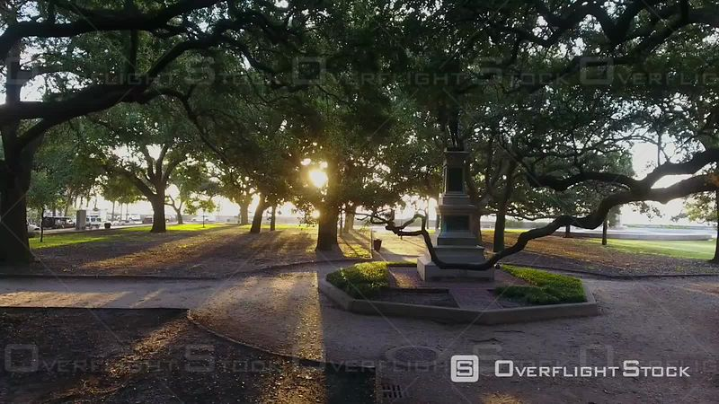 4k Aerial of Battery Park In Charleston South Carolina at Sunrise