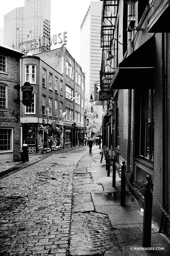 COBBLE STONE STREET OYSTER HOUSE BOSTON BLACK AND WHITE VERTICAL