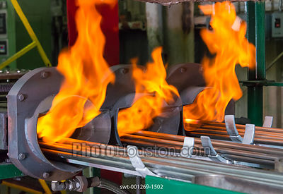 Stainless steel tubes pass through bright annealing furnace