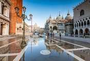 St Mark's square with acqua alta, Venice, Italy