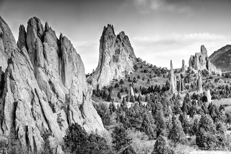 Black and White of the Cathedral rock formation in Garden of the Gods. Near Colorado Springs, Colorado.