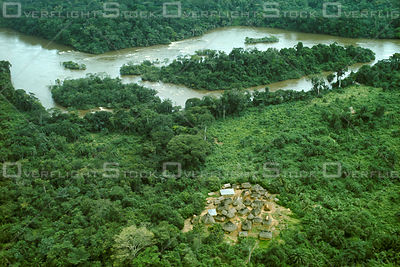 Kpelle village near Saint Paul River in Rainforest Liberia Africa