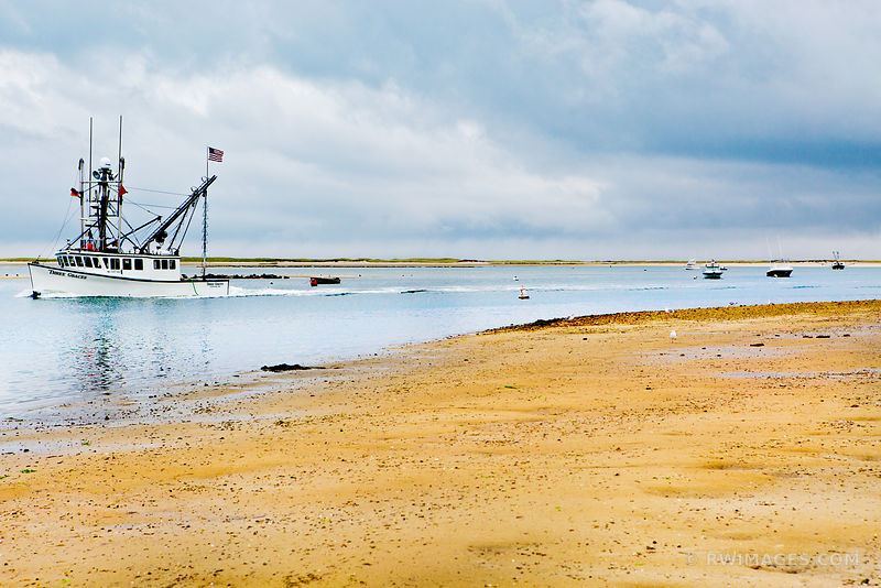 FISHING BOAT IN HARBOR CHATHAM CAPE COD MASSACHUSETTS COLOR