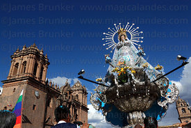 Virgin of the Immaculate Conception during parades for Corpus Christi festival and cathedral , Plaza de Armas , Cusco , Peru