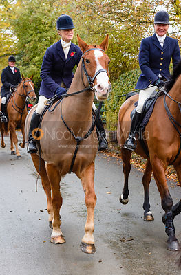 Annabel Bealby leaving the meet. The Cottesmore Hunt at Braunston