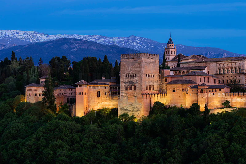 The Alhambra Palace from the Albaicin at Dusk