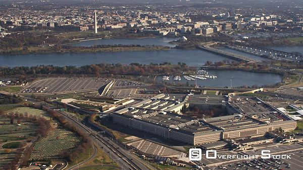 Wide View of Pentagon With Washington DC in Background, Arland D. Williams and George Mason Memorial Bridges at Right.
