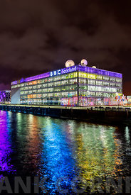 GLASGOW, SCOTLAND. NOVEMBER 27 2015 : The BBC Scotland TV studios at Night, on the banks of the River Clyde, Glasgow, Scotlan...