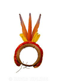 Tukanoan Headring Amazonas Brazil dating to around 1925 contains Macaw, Oropendola and Toucan feathers the combined colours r...