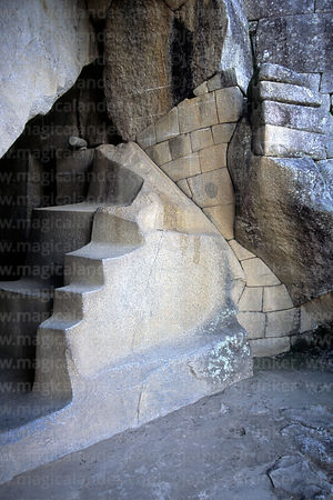 Carved rock in Royal Tomb below Sun Temple, Machu Picchu, Peru
