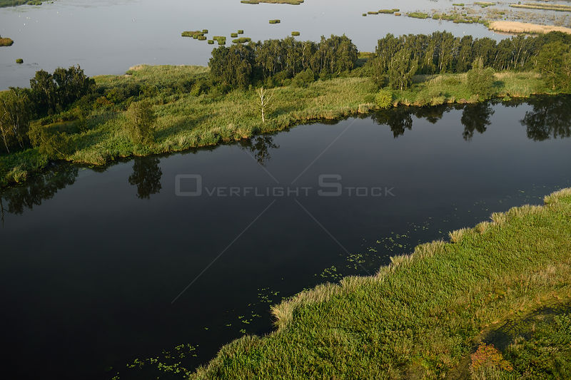 Peene river and flooded land near Anklamer Stadtbruch, Anklam, Germany, August 2014.