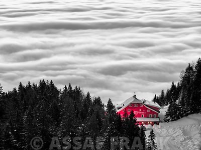 Chalet above clouds at sunrize,La Mainaz , Route de la Faucille, France