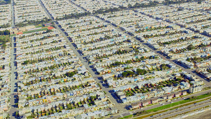 Aerial view of suburban houses in the Sunset District of San Francisco, CA, USA