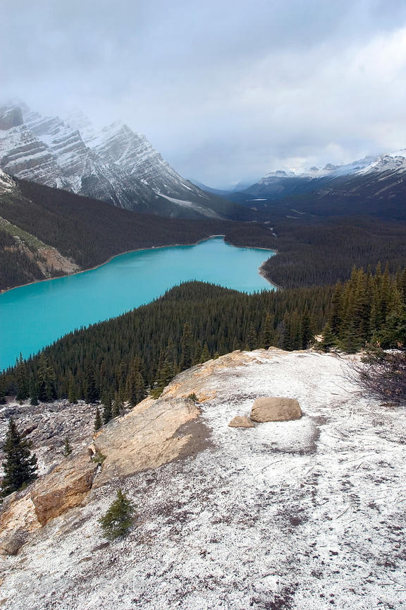 A dusting of snow around Peyto Lake, Banff National Park, Canadian Rockies.