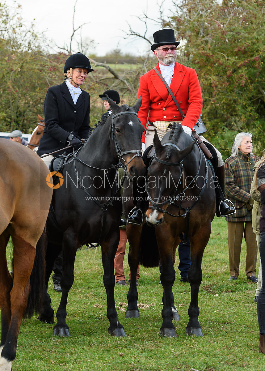 Jane Herrick, Frank Herrick at the meet. Quorn Hunt Opening Meet 2018