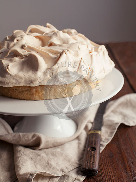 Lemon Meringue Pie on White Cake Stand