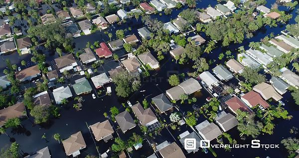 Flooding of Homes in the Aftermath of Hurricane Irma Florida. Canoe