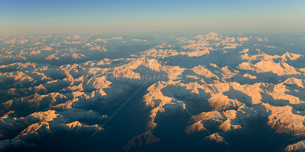 Aerial view of the Alps at sunrise, Italy, November 2008