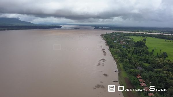 Aerial view of Mekong river at Don Daeng Island, nearby Champassak town, filmed by drone, Laos