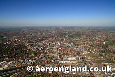 aerial photograph of Nottingham  Nottinghamshire England UK