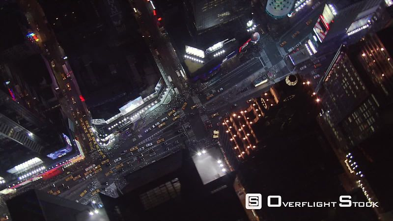 Night flight over 45th Street, looking down at Times Square.