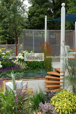 Border, Border with flowers, garden designer, Small garden, Stair, Trellis, Urban garden, Digital, Grasses, raised bed, Raised border
