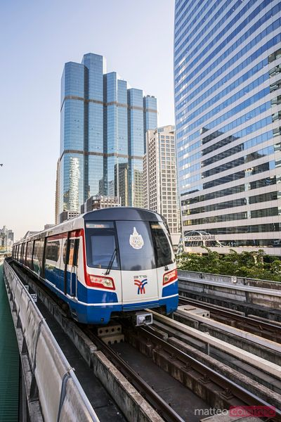 BTS sky train in the business district, Bangkok, Thailand