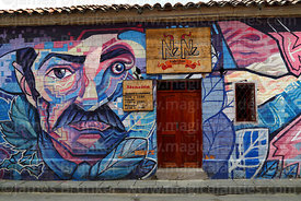 Mural of El Moto Méndez on wall of restaurant, Tarija, Bolivia